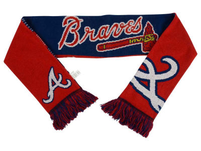 Atlanta Braves Acrylic Knit Scarf Reversible Split Logo