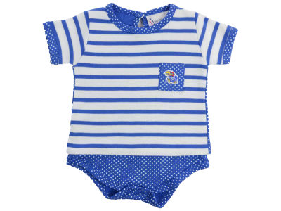 Kansas Jayhawks NCAA Newborn Girls Pin Dot Stripe Creeper Set