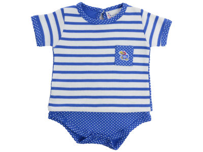 Kansas Jayhawks NCAA Infant Girls Pin Dot Stripe Creeper Set