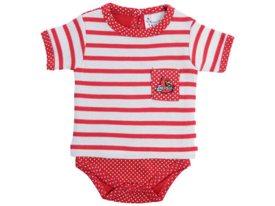 Louisville Cardinals Atlanta Hosiery NCAA Infant Girls Pin Dot Stripe Creeper Set