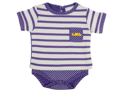 LSU Tigers NCAA Newborn Girls Pin Dot Stripe Creeper Set