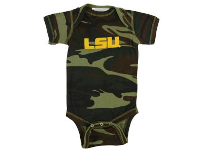 LSU Tigers Atlanta Hosiery NCAA Infant Camo Short Sleeve Creeper