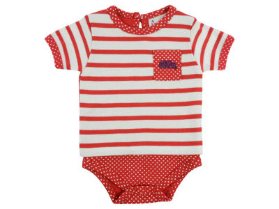 Ole Miss Rebels NCAA Infant Girls Pin Dot Stripe Creeper Set