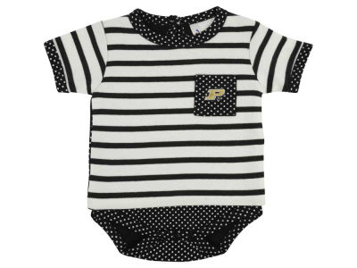 Purdue Boilermakers NCAA Infant Girls Pin Dot Stripe Creeper Set