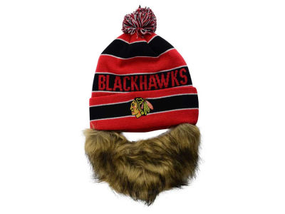 Chicago Blackhawks Old Time Hockey NHL Sauk Cuff Pom Knit with Beard