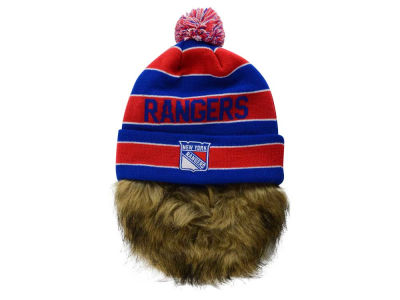 New York Rangers Old Time Hockey NHL Sauk Cuff Pom Knit with Beard