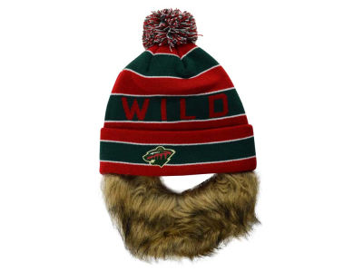 Minnesota Wild Old Time Hockey NHL Sauk Cuff Pom Knit with Beard
