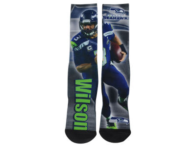 Seattle Seahawks Russell Wilson NFL Drive Player Jersey Crew Socks