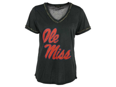 Ole Miss Rebels NCAA Women's Hematite Flowy V-Neck T-Shirt