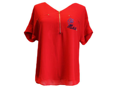 Ole Miss Rebels NCAA Women's Chiffon Short Sleeve Zipper Blouse