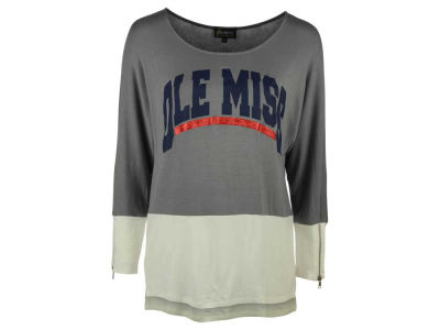 Ole Miss Rebels NCAA Women's Color Block Plain Crew Long Sleeve Shirt