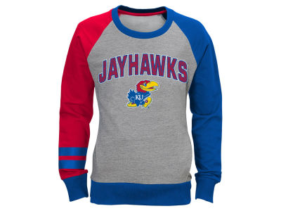 Kansas Jayhawks NCAA Youth Girls Amethyst Crew Fleece Sweatshirt
