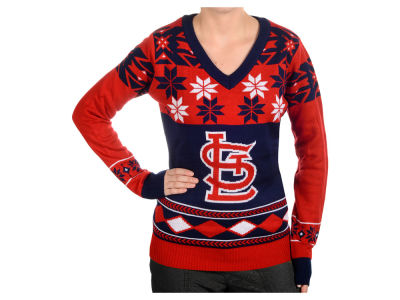 St. Louis Cardinals La Tilda MLB Women's Big Logo V-Neck Sweater