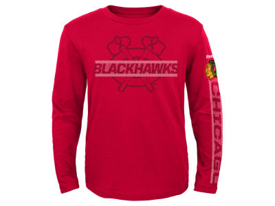 Chicago Blackhawks Reebok NHL Toddler Line Up Long Sleeve T-Shirt