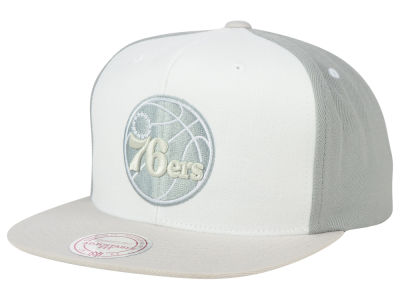 Philadelphia 76ers Mitchell and Ness NBA White Wall Snapback Cap