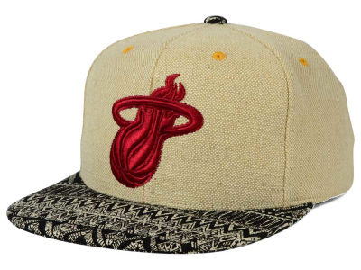 Miami Heat Mitchell and Ness NBA Hemp Crown Strapback Cap