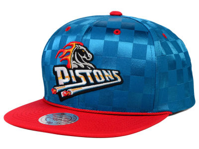 Detroit Pistons Mitchell and Ness NBA Upfield Snapback Cap