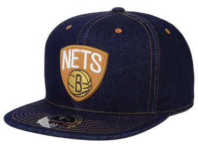 Brooklyn Nets Mitchell and Ness NBA The Denim Fitted Cap