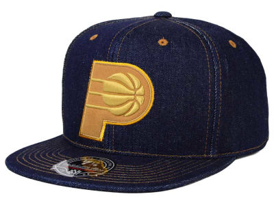 Indiana Pacers Mitchell and Ness NBA The Denim Fitted Cap