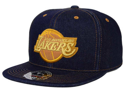 Los Angeles Lakers Mitchell and Ness NBA The Denim Fitted Cap