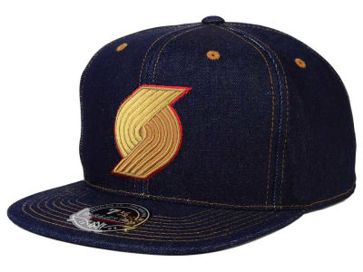 Portland Trail Blazers Mitchell & Ness NBA The Denim Fitted Cap
