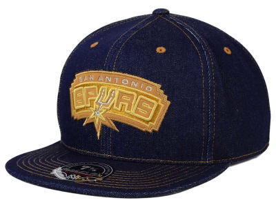 San Antonio Spurs Mitchell and Ness NBA The Denim Fitted Cap