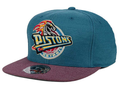 Detroit Pistons Mitchell and Ness NBA Heather Profile Fitted Cap