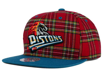 Detroit Pistons Mitchell and Ness NBA Plaid It Snapback Cap