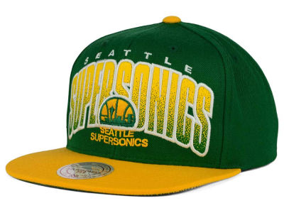 Seattle SuperSonics Mitchell and Ness NBA Double Bonus Snapback Cap