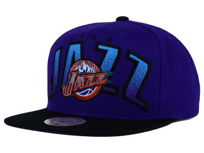 Utah Jazz Mitchell and Ness NBA Double Bonus Snapback Cap