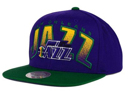 New Orleans Jazz Mitchell and Ness NBA Double Bonus Snapback Cap