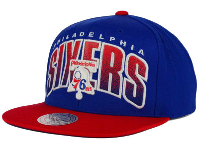 Philadelphia 76ers Mitchell and Ness NBA Double Bonus Snapback Cap
