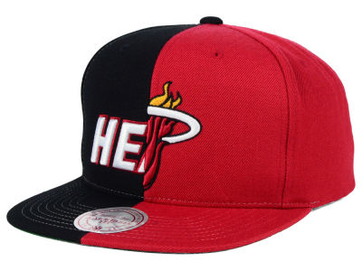 Miami Heat Mitchell and Ness NBA Split Snapback Cap