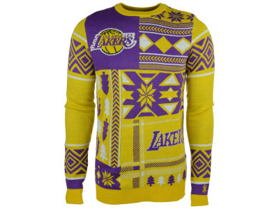 Los Angeles Lakers La Tilda NBA Men's Patches Ugly Sweater