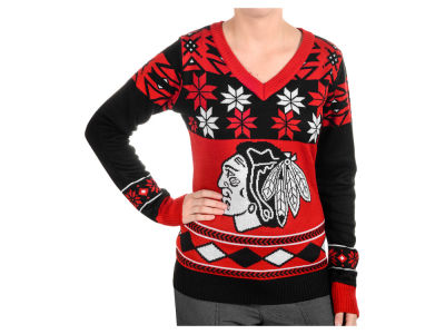 Chicago Blackhawks La Tilda NHL Women's Big Logo Vneck Sweater