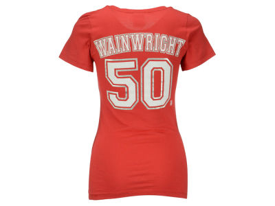 St. Louis Cardinals Adam Wainwright 5th & Ocean MLB Women's Foil Player V-Neck T-Shirt