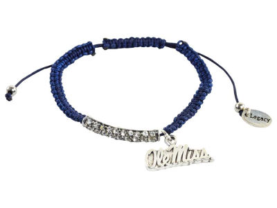 Ole Miss Rebels Friendship Bracelet With Rhinestones