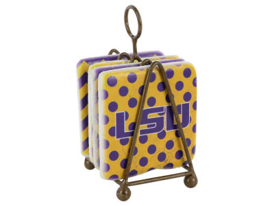 LSU Tigers Dots/Chevron Coaster Set