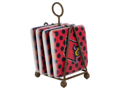 Louisville Cardinals Dots/Chevron Coaster Set
