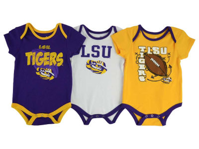 LSU Tigers adidas NCAA Newborn 3 Points 3-Piece Creeper Set