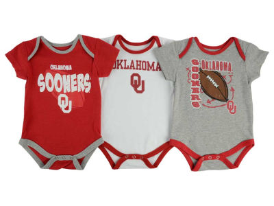 Oklahoma Sooners adidas NCAA Newborn 3 Points 3-Piece Creeper Set