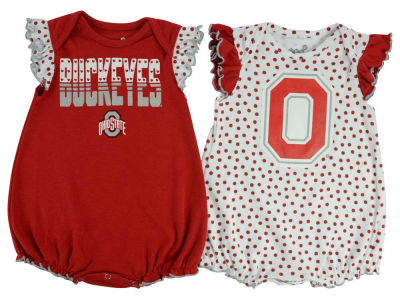 Ohio State Buckeyes adidas NCAA Newborn Girls Polka Fan Set