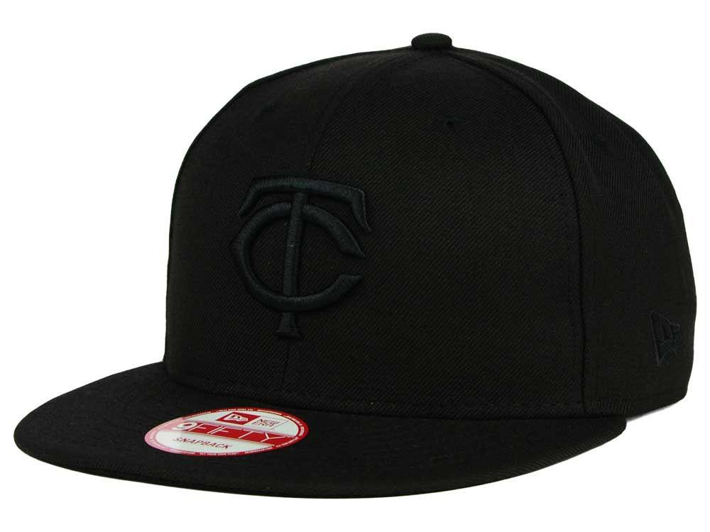 reputable site 48f5b b48d2 Minnesota Twins New Era MLB Black on Black 9FIFTY Snapback Cap   lids.com