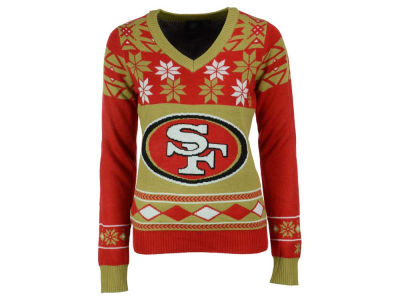 San Francisco 49ers La Tilda NFL Women's Big Logo V-Neck Sweater