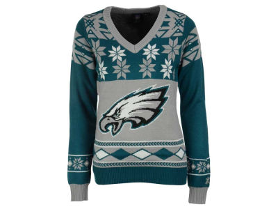 Philadelphia Eagles La Tilda NFL Women's Big Logo V-Neck Sweater