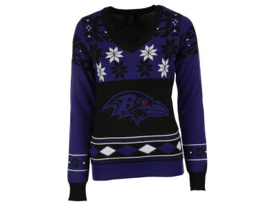 Baltimore Ravens La Tilda NFL Women's Big Logo V-Neck Sweater
