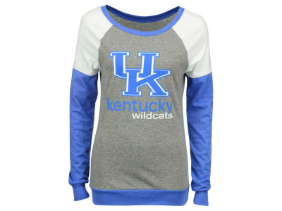 Kentucky Wildcats Blue 84 NCAA Women's Triblend Shoulder Panel Long Sleeve T-Shirt