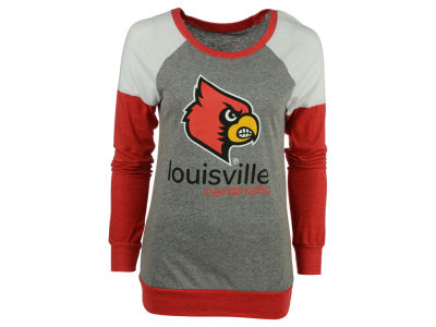 Louisville Cardinals Blue 84 NCAA Women's Triblend Shoulder Panel Long Sleeve T-Shirt