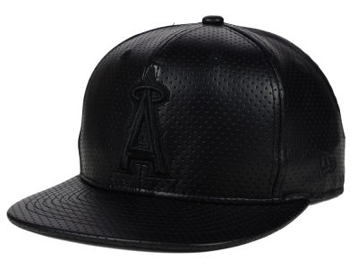 Los Angeles Angels New Era MLB Black on Black Perforated 9FIFTY Snapback Cap