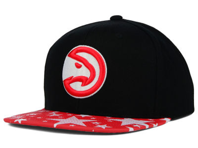 Atlanta Hawks Mitchell and Ness NBA Reflective Star Pattern 2 Tone Snapback Cap